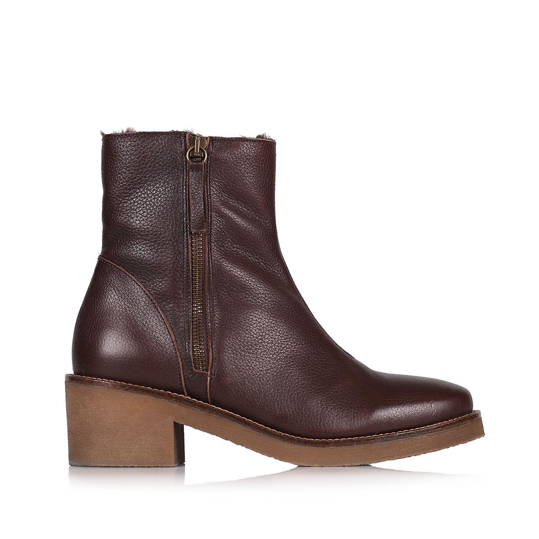 Women's bootie in leather with zip fastener - PRATO-POF