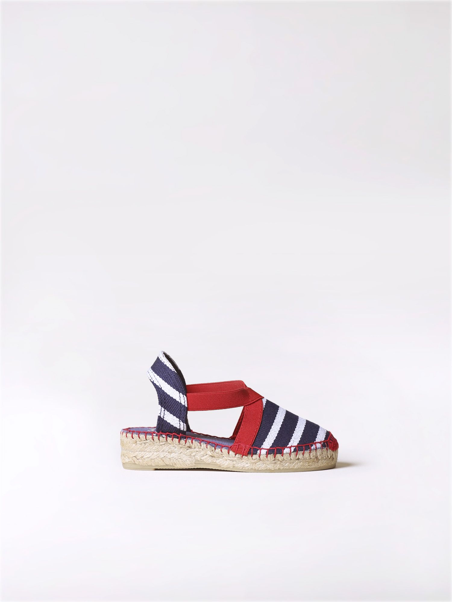 Vegan espadrille with navy stripes - EDITA-BR