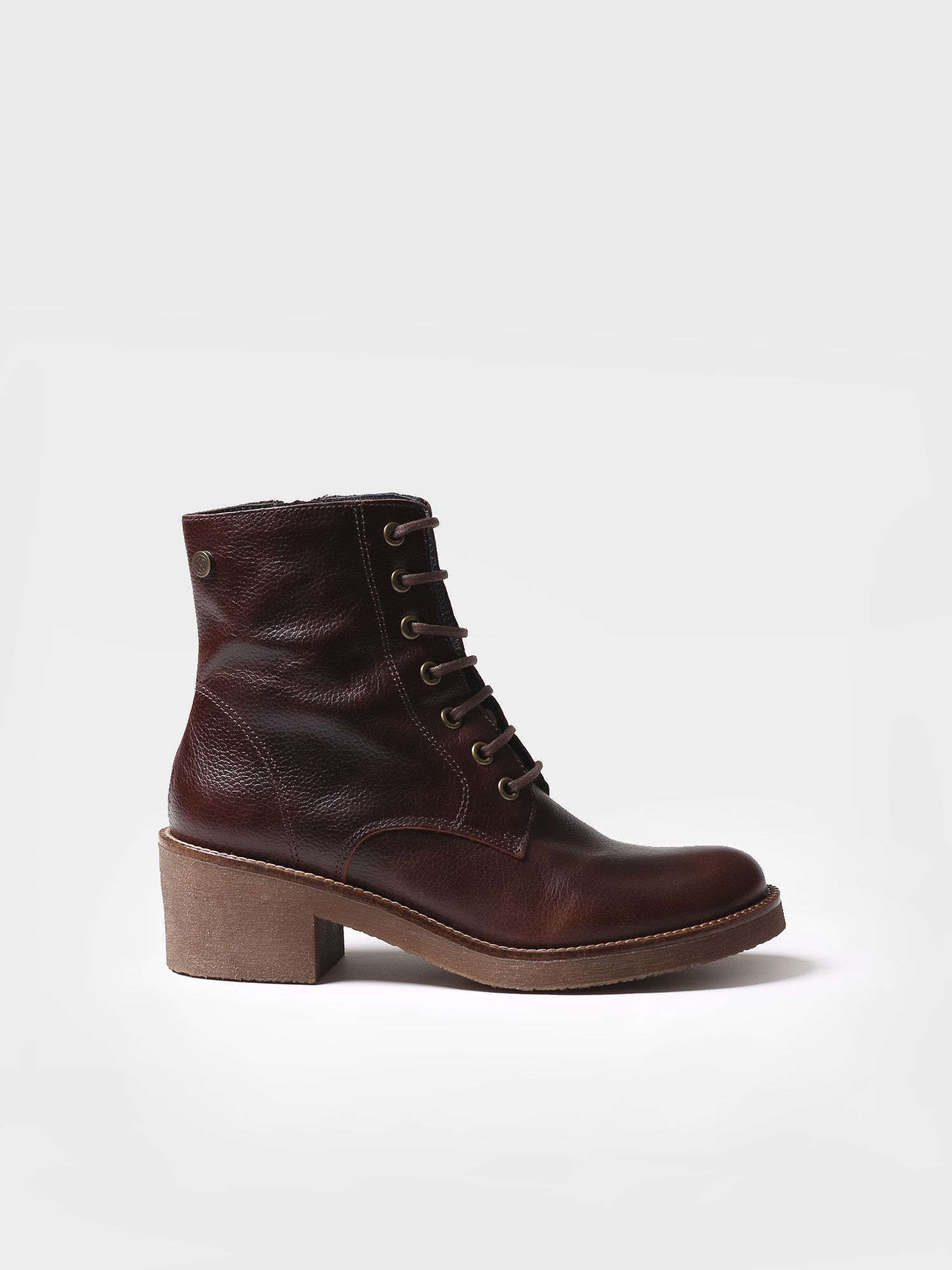 Ankle boot for women made of brown leather - PAVIA-PO