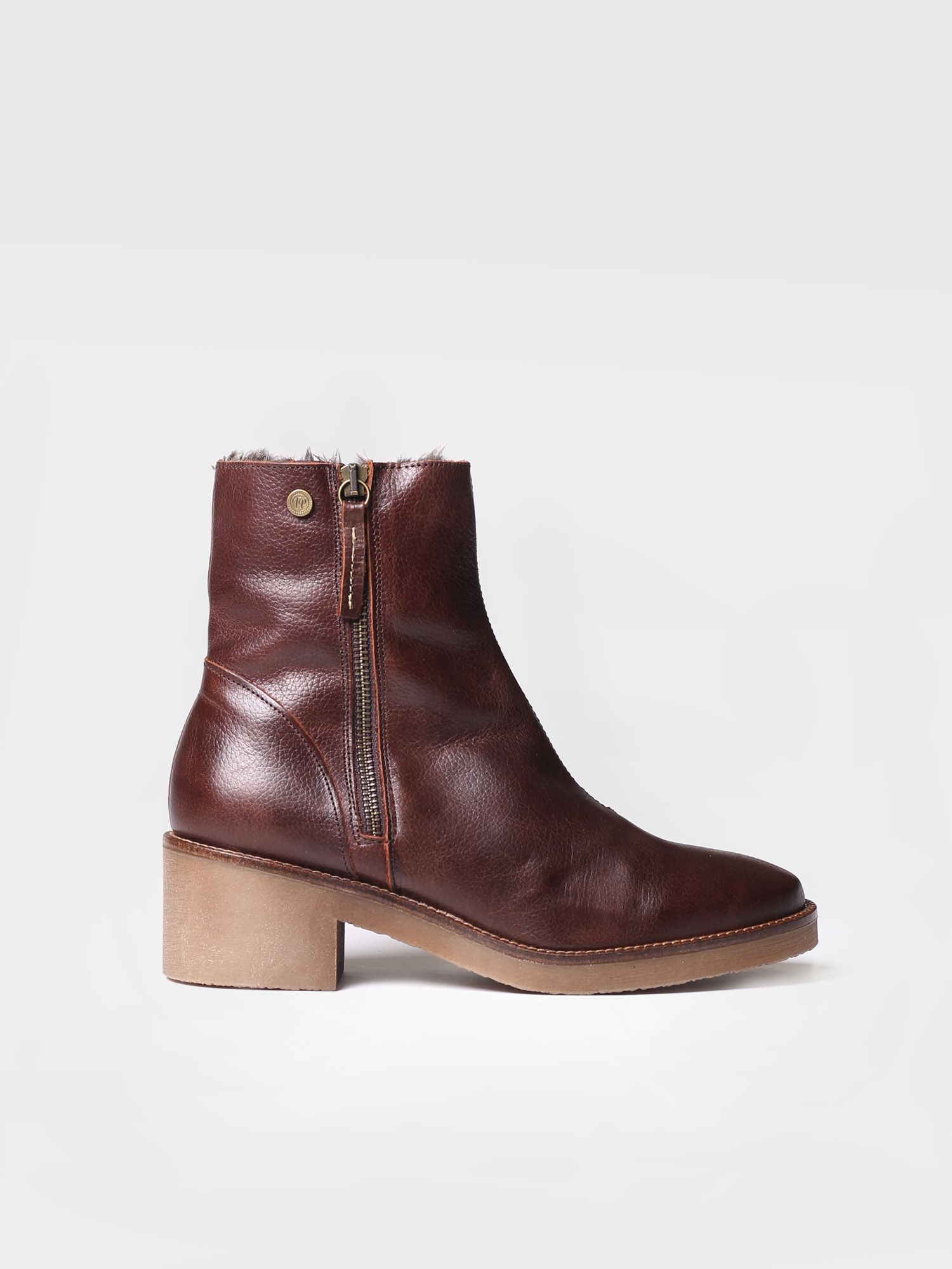 Ankle boot for women made of brown leather - PRATO-POF