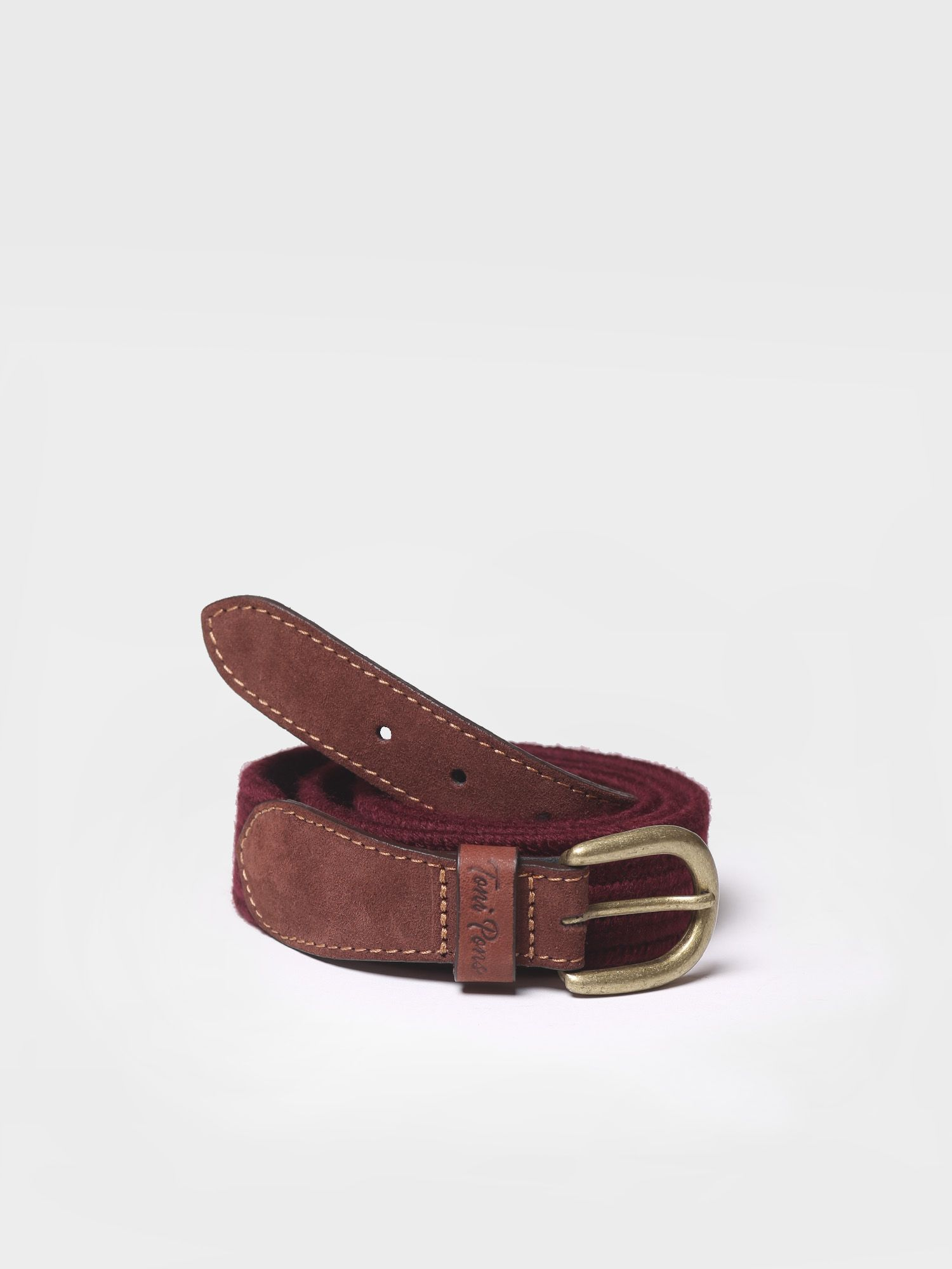 Belt in elastic fabric in burgundy shades - NALA