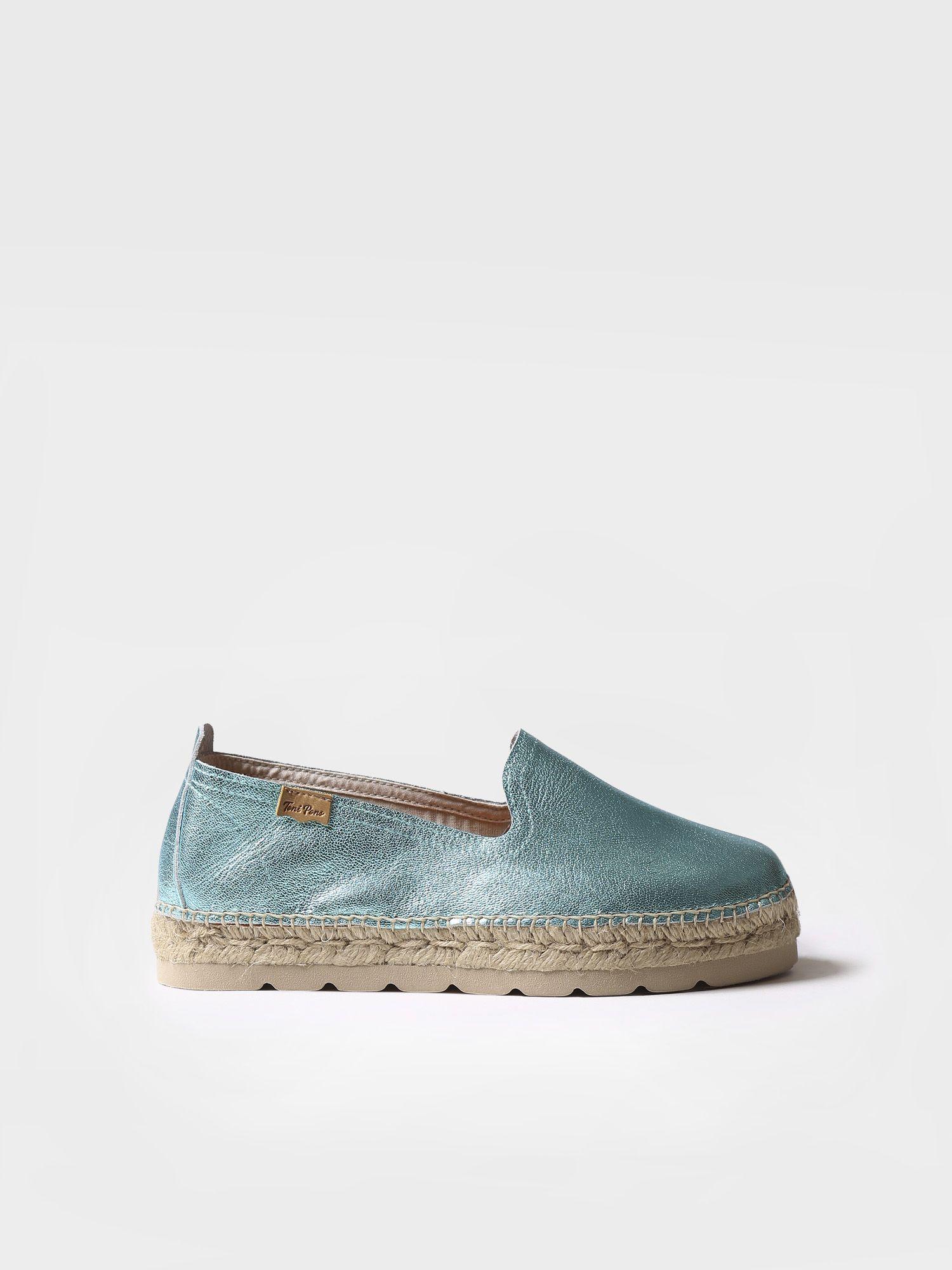Leather flat espadrille - AURORA