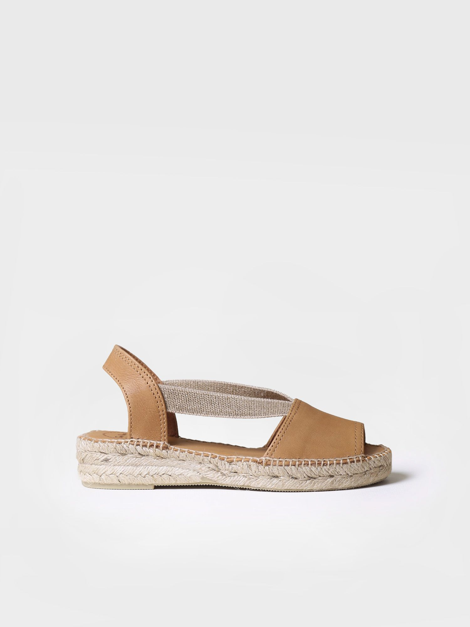 Flat espadrille in white leather - ETNA