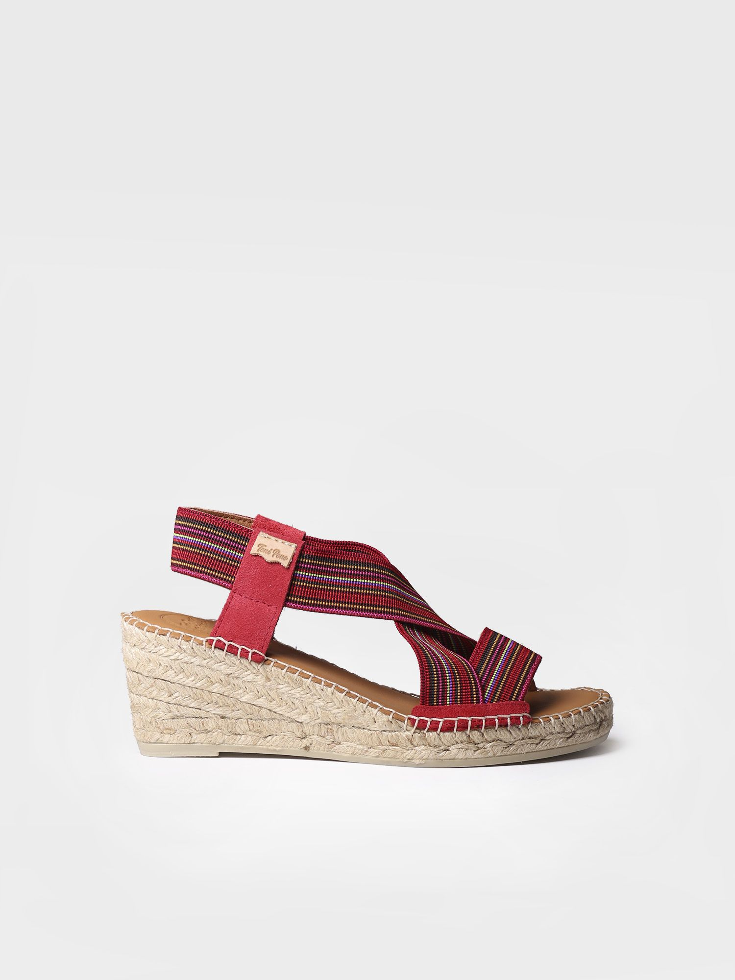 Wedge espadrille in fabric with elastic bands - TINA