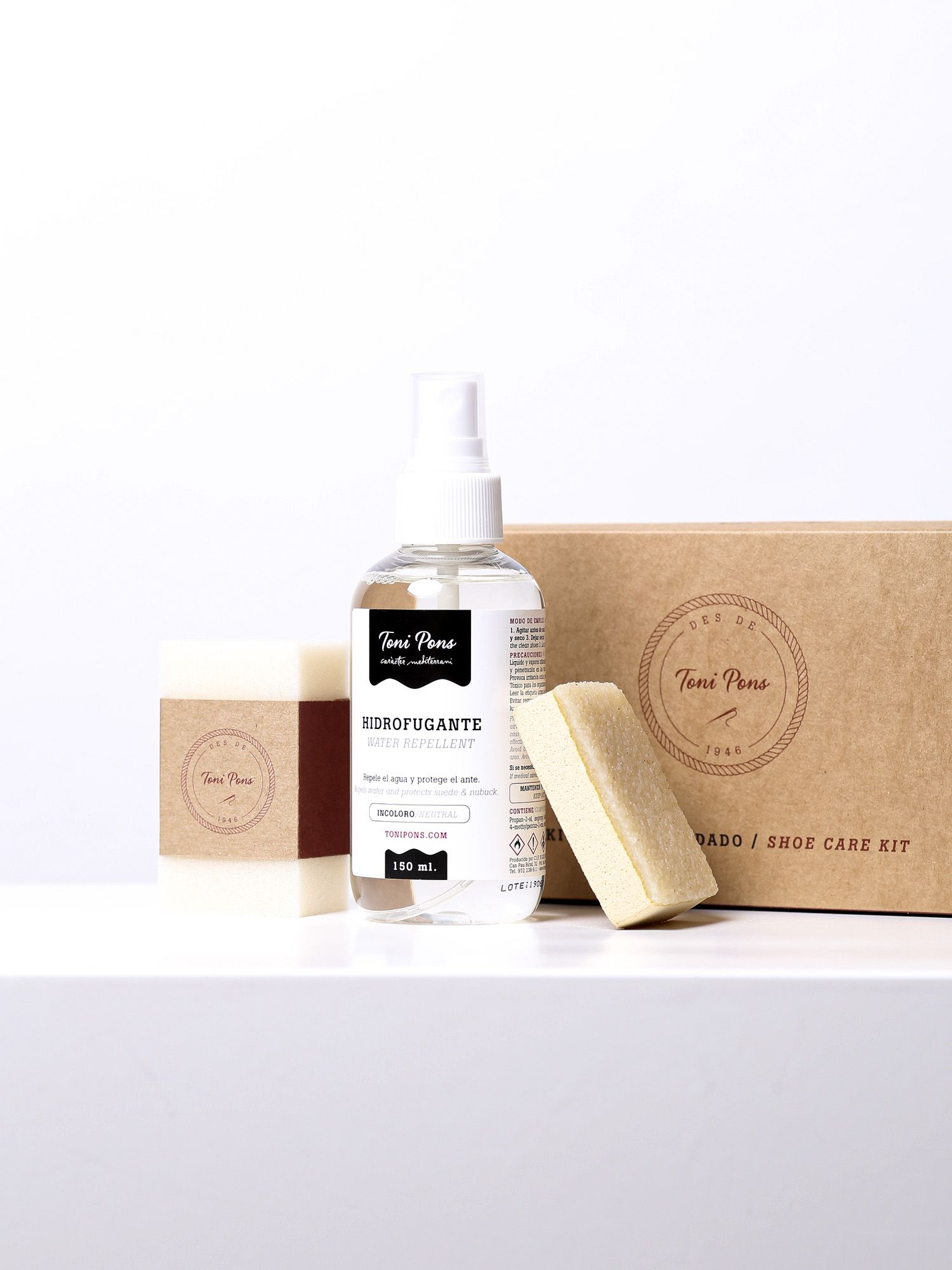 KIT HIDROFUGANT - 150ml spray for suede and nubuck, with nubuck rubber and sponge.