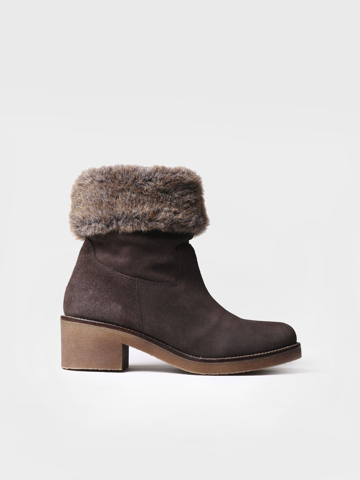 Mid heel bootie in brown suede - PECOS-SYF