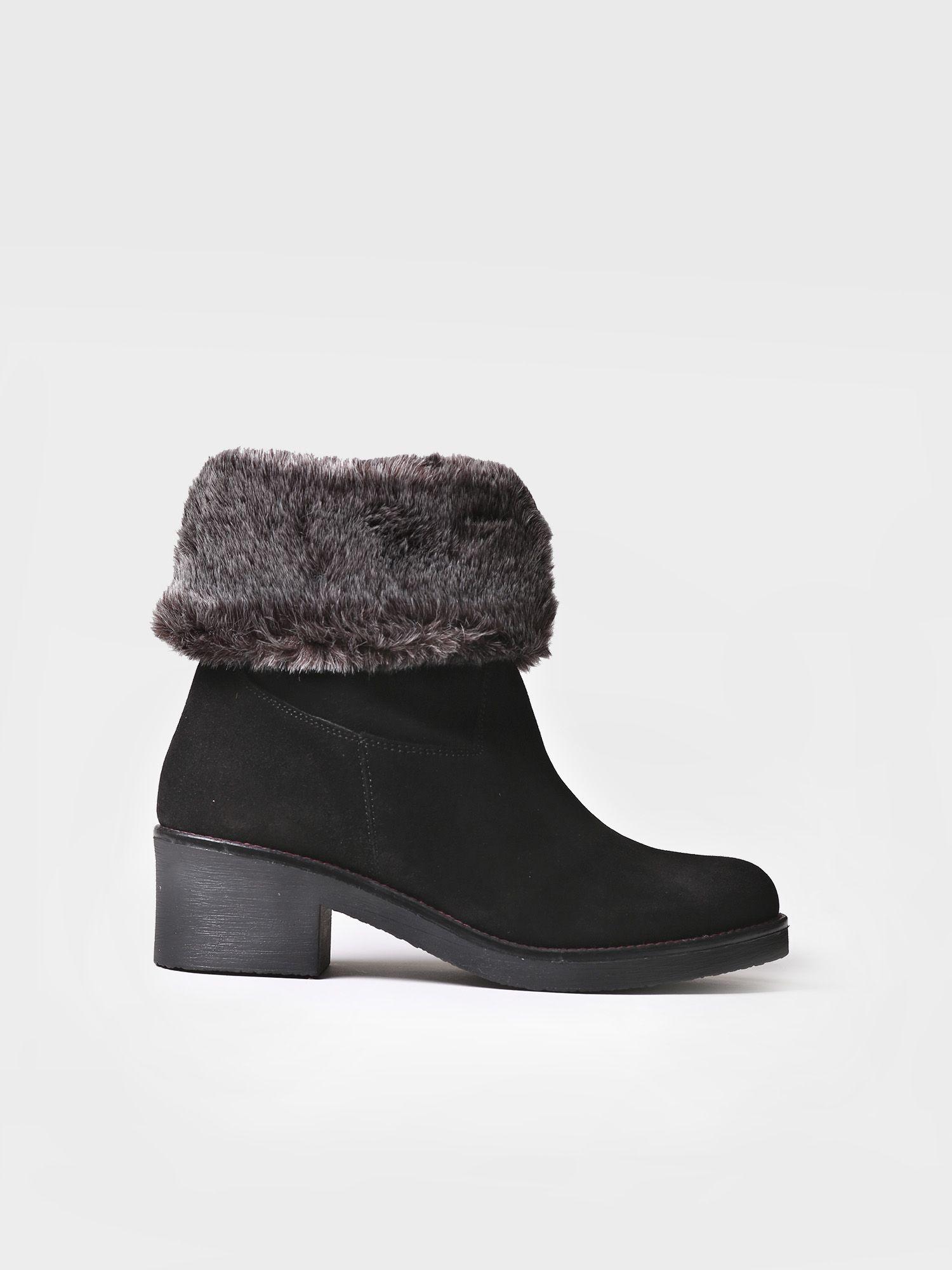 Mid heel bootie in black suede - PECOS-SYF