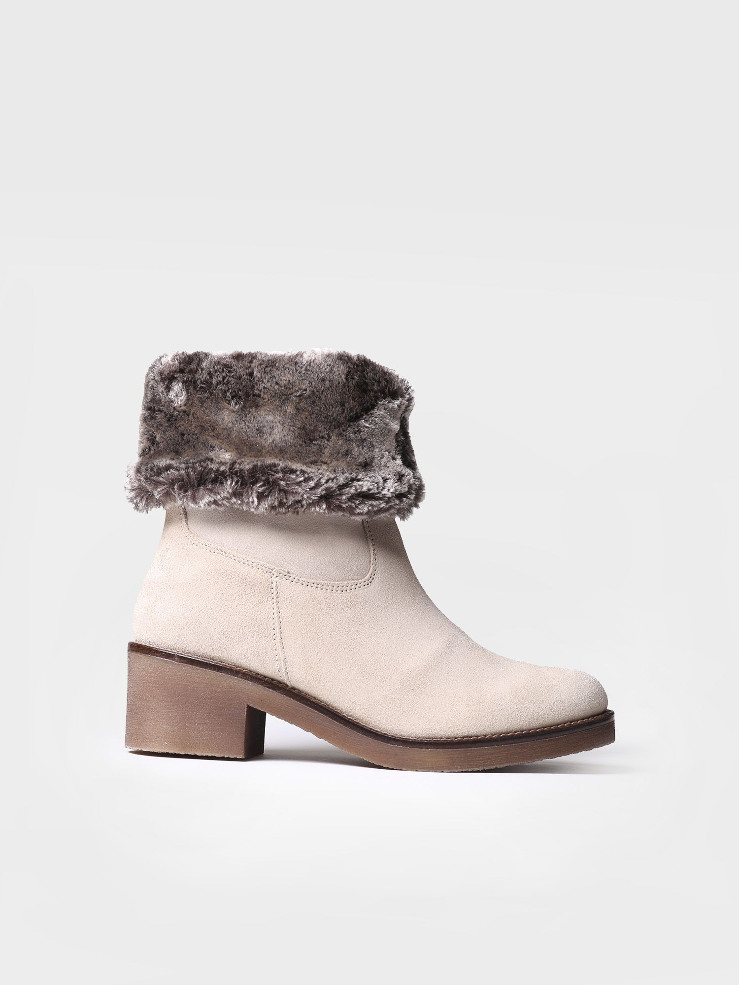 Mid heel bootie in stone suede - PECOS-SYF